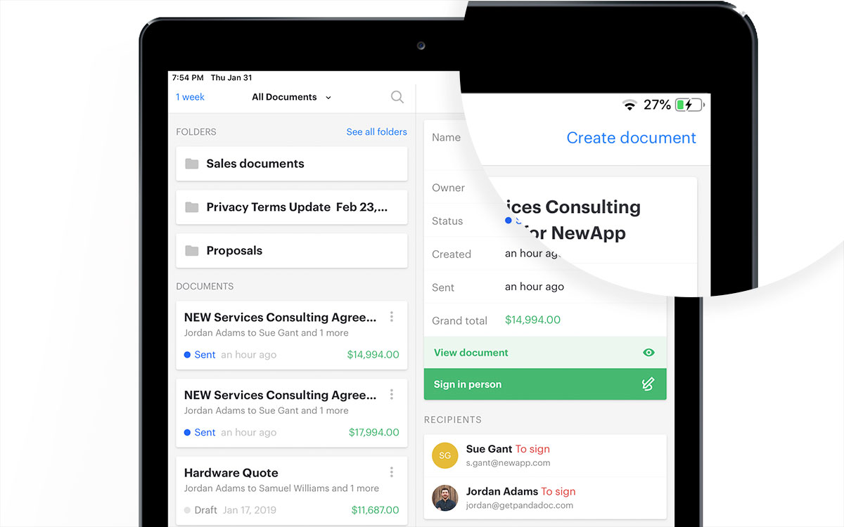 Create and esign docs on the go with PamdaDoc mobile application