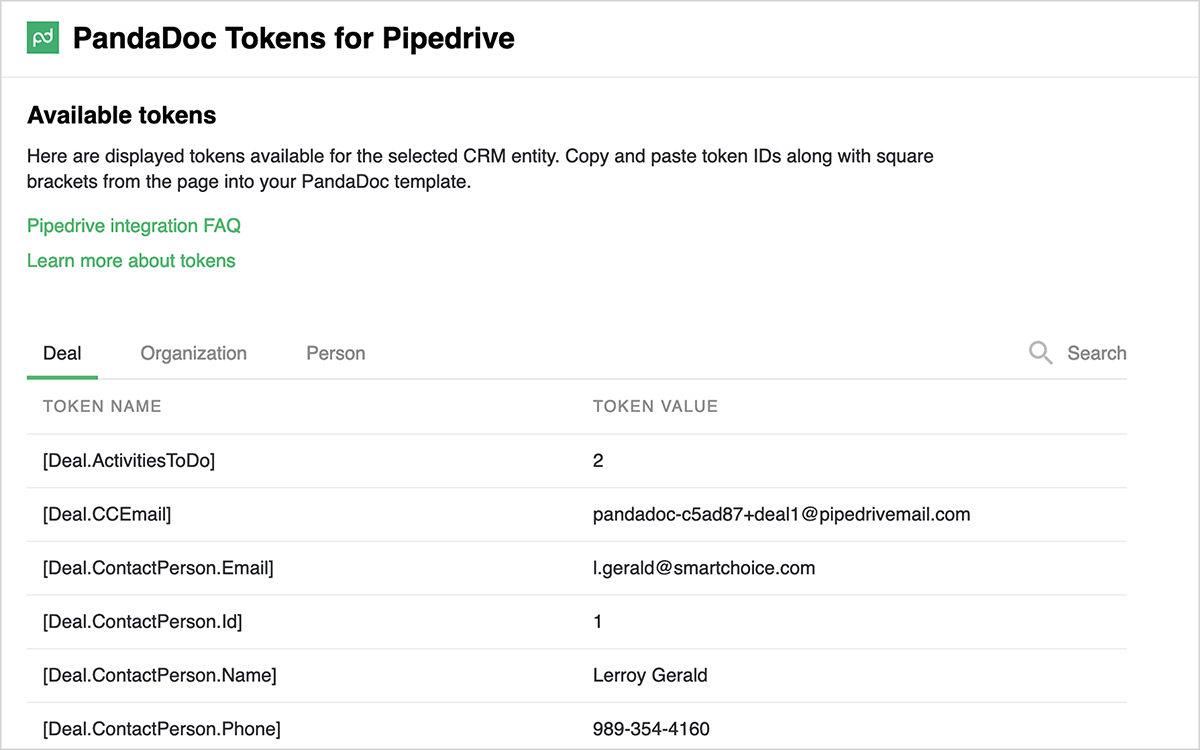 Merge Pipedrive CRM fields into PandaDoc documents