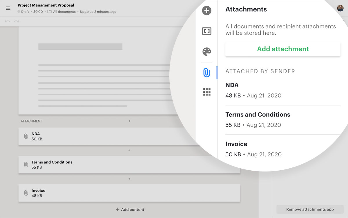 Attach files to your documents and templates